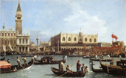 Return of the Bucentoro to the Molo on Ascension Day by Canaletto
