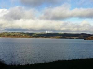 Views of the distant wind turbines recently installed close to Carsington Water