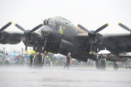 Lancaster of Battle of Britain Memorial Flight standing in the rain
