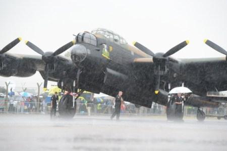 Lancaster of Battle of Britain Memorial Flight standing in the rain
